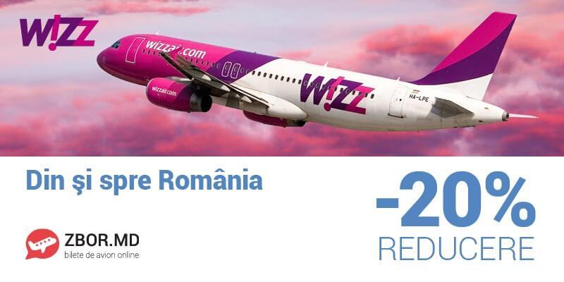 Bilete de avion din/spre România cu 20%* reducere! Doar azi pe Zbor.md!