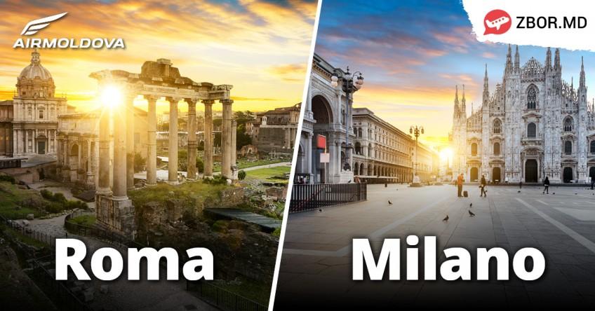 ATENȚIE! Zboruri autorizate spre Roma și Milano