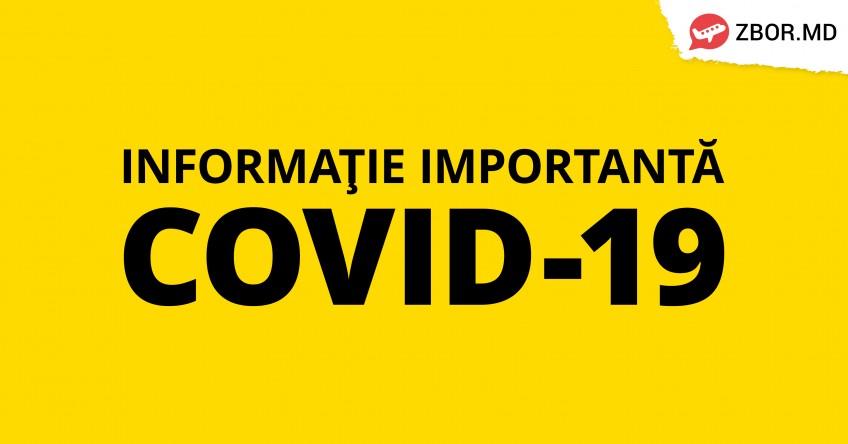 Informație importantă în legătură cu COVID-19