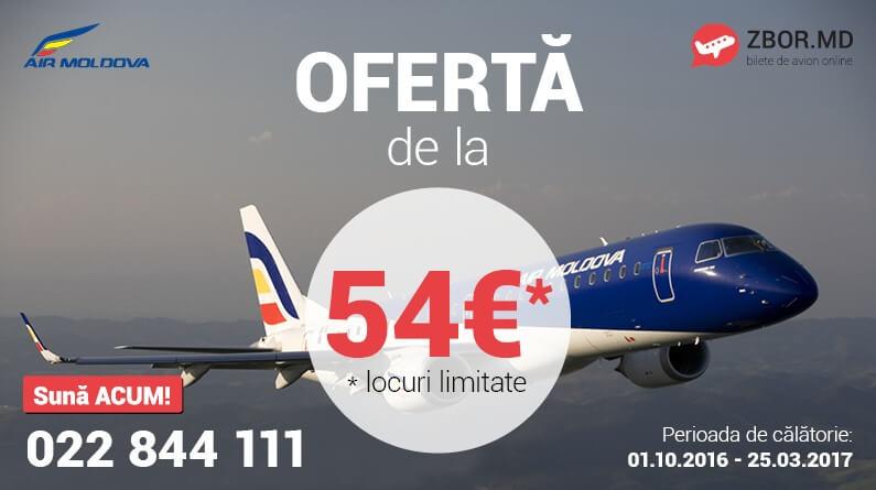 Ofertă! Bilete de avion de la 54* EUR din Chișinău!