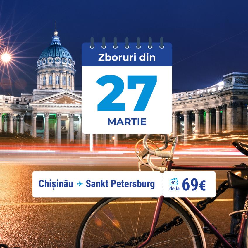 Curse directe Chișinău - St. Petersburg  cu FLYONE din 27 martie 2021
