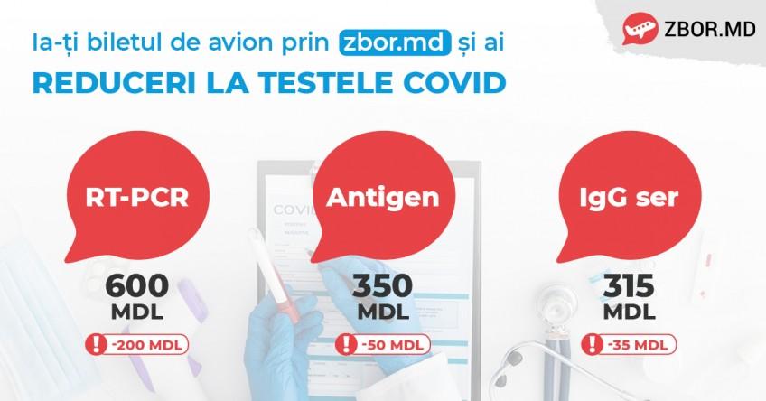 Ia-ți biletul de avion prin zbor.md și ai reducere la testele COVID-19 în centrele Medexpert și TestRapid.md.