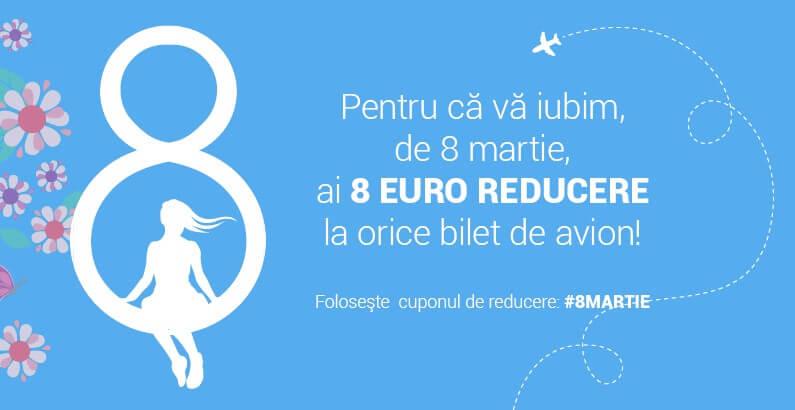 8 Euro reducere pentru toate Doamnele și Domnișoarele de 8 martie de la Zbor.md!