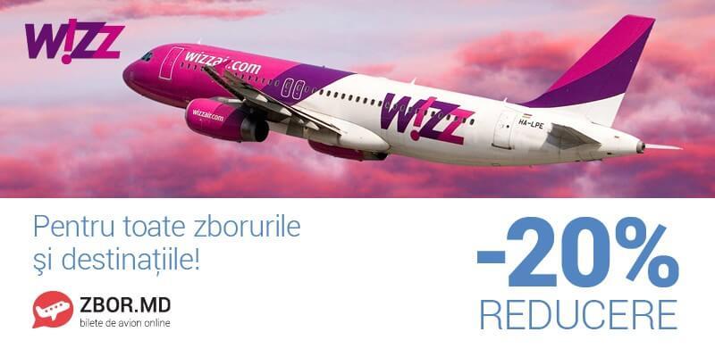 20 % reducere la toate biletele Wizz Air!